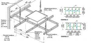 Схема установки подвесного потолка Армстронг
