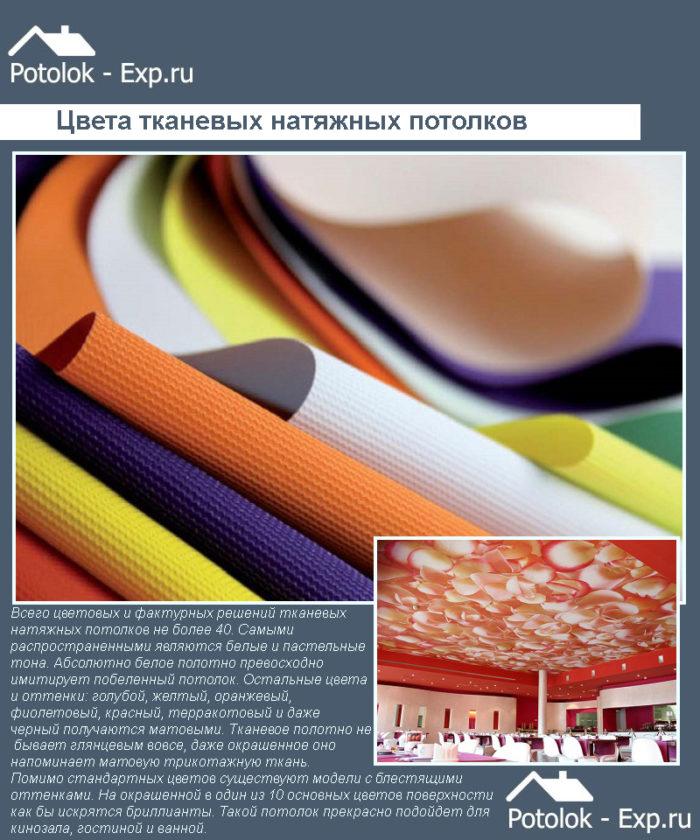 Цветовые решения тканевых натяжных потолков
