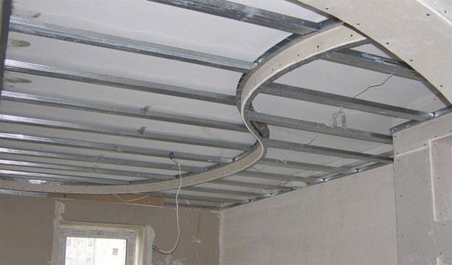 Пример каркаса двухуровневого гипсокартонного потолка