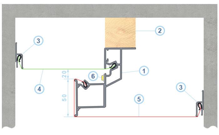 Схема 1. Конструкция со скрытой подсветкой: 1 - алюминиевая конструкция со скрытой подсветкой; 2 - вспомогательный брус; 3 - багет стеновой; 4, 5 - гарпунное натяжное полотно; 6 - подсветка; размеры указаны в миллиметрах.
