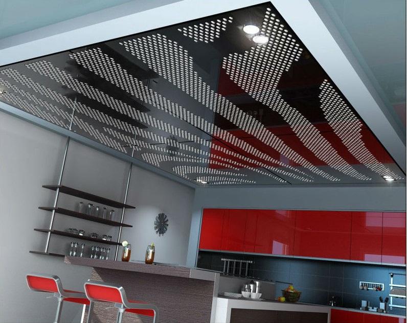 Пленочный перфорированный натяжной потолок на кухне