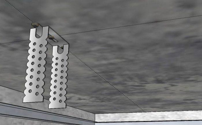 Схема крепления подвеса для монтажа гипсокартонного потолка