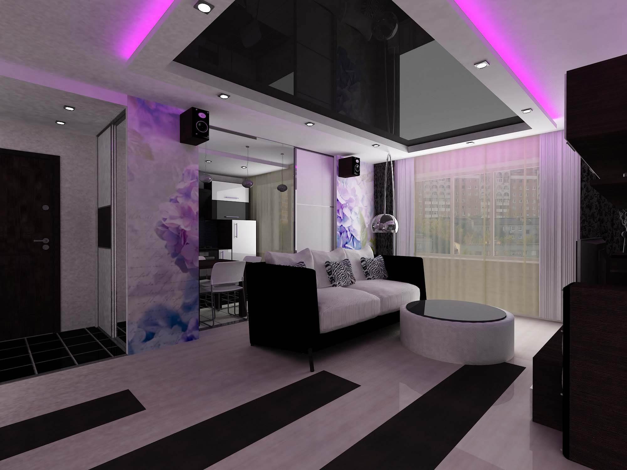 Чёрный натяжной потолок в зале