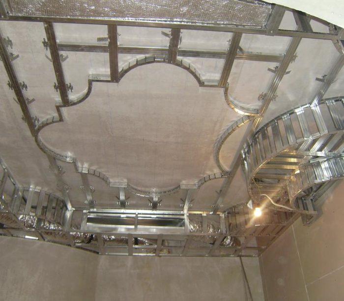 Пример каркаса двухуровневого подвесного потолка