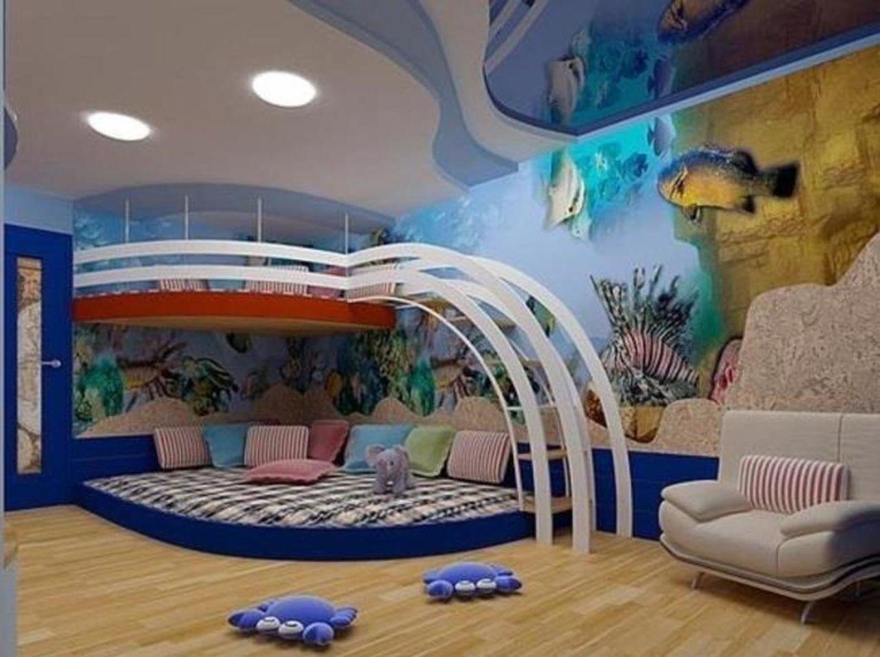 Многоуровневый натяжной потолок для детской комнаты
