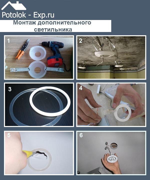 Монтаж дополнительного светильника - один из способов устранения пореза на натяжном потолке