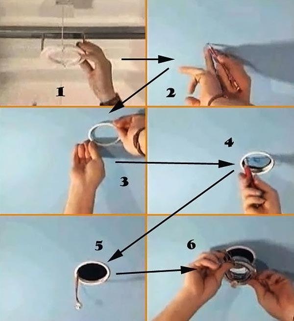 Монтаж точечного светильника в потолок: вариант с самостоятельным вырезанием отверстий в полотне