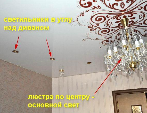 Натяжной потолок с печатью и светильниками