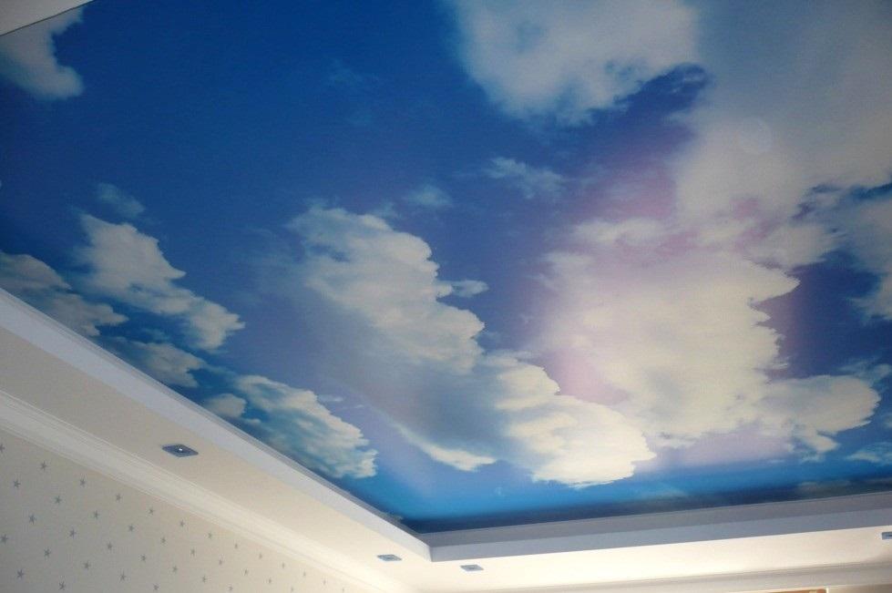 Натяжной потолок в виде неба