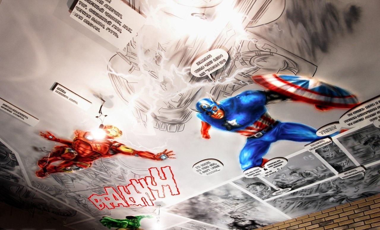 Оформление потолка в стиле Marvel