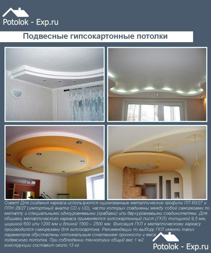 Подвесные гипсокартонные потолки