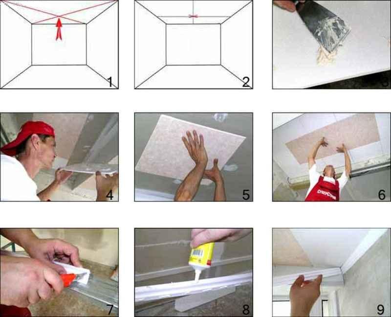 Последовательность работ при монтаже потолочной плитки