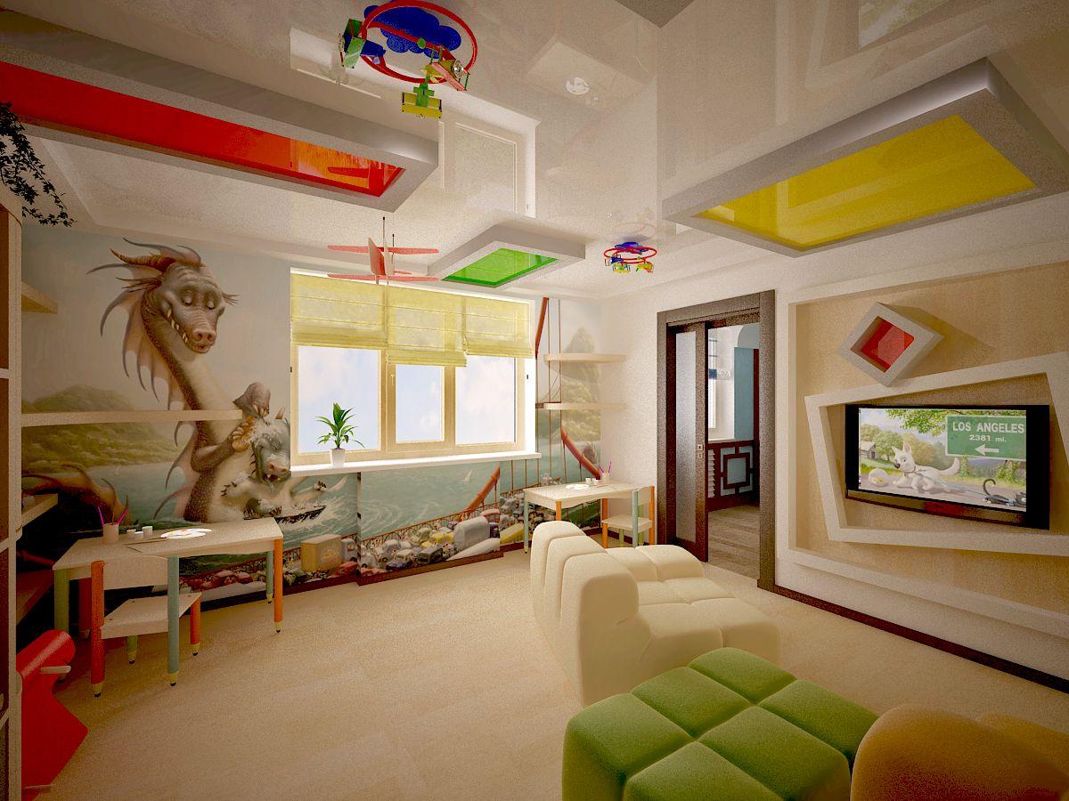 Потолок в детскую из гипсокартона