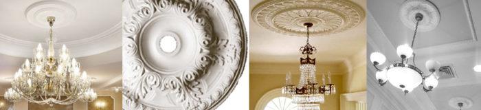 Правильно подобранная декоративная лепная розетка может стать изюминкой интерьера, выгодно подчеркнуть люстру, придать шик и роскошь помещению
