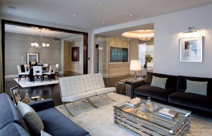 Просторные залы и гостиные гармоничнее смотрятся при высоте потолка от 3 метров