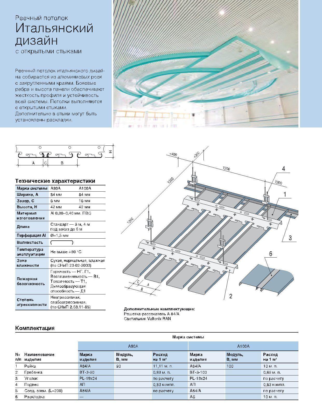 Реечный потолок А84А с открытыми стыками итальянского дизайна, Албес