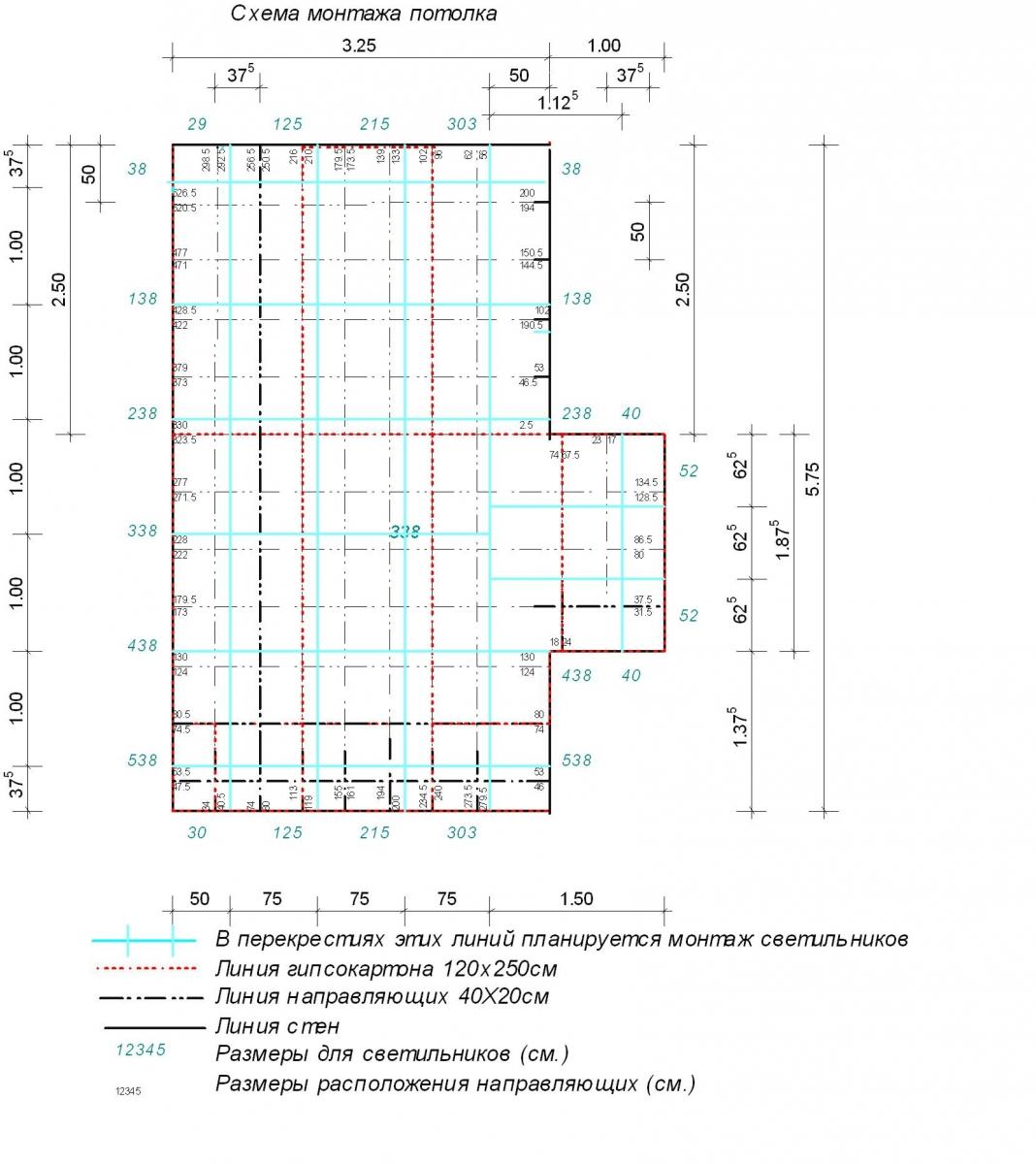Схема двухуровнего потолка из гипсокартона фото 390
