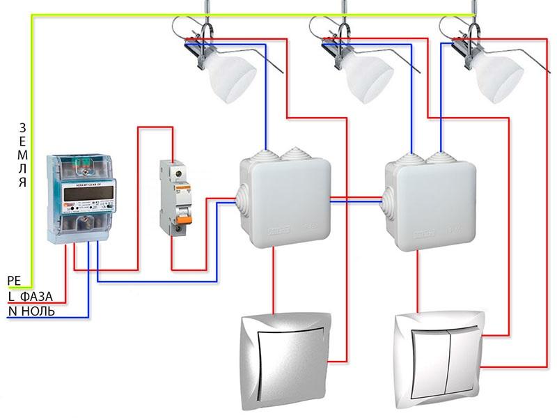 Схема подключения точечных светильников в квартире