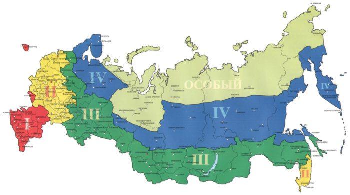 Схема районирования территории РФ по климатическим поясам