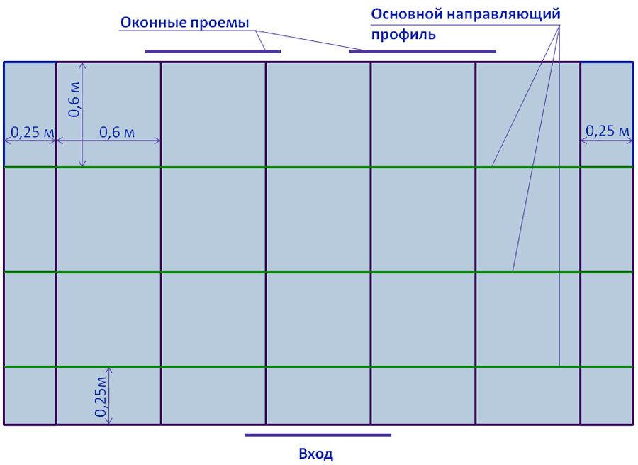 Схема разметки кассетного потолка