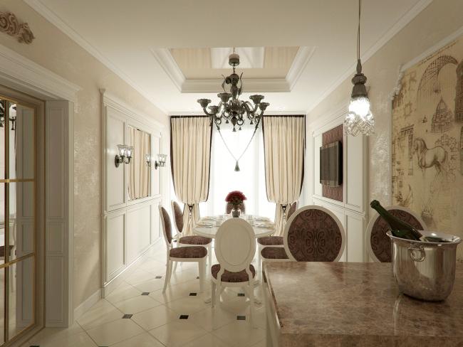 Столовая в классическом стиле со вставкой из глянцевого натяжного потолка
