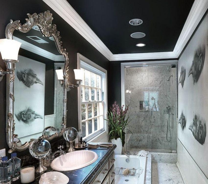 Тканевый натяжной потолок окрашен в черный цвет