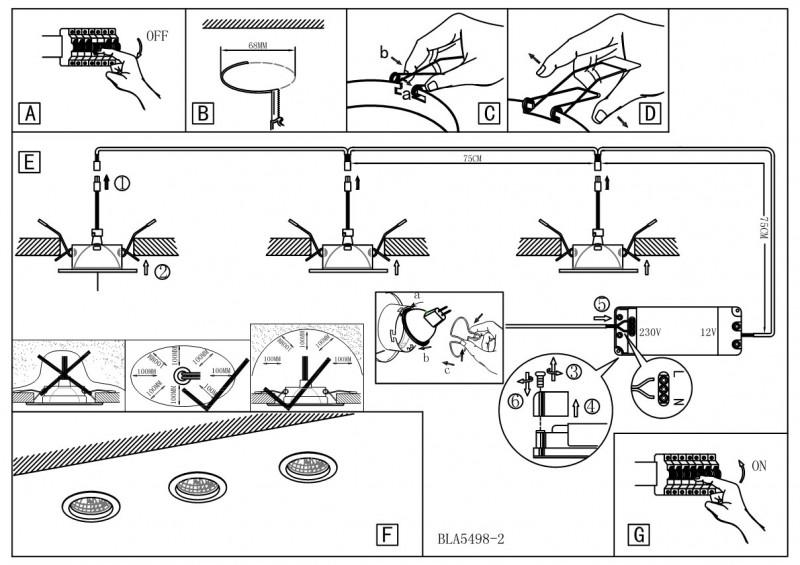 Установка и монтаж точечных светильников (схема)
