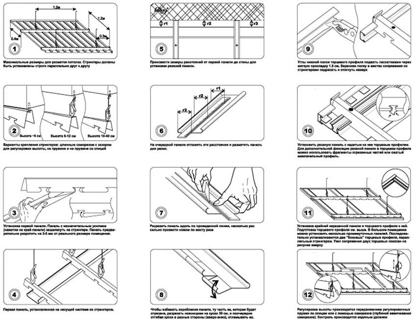 Этапы монтажа реечного подвесного потолка