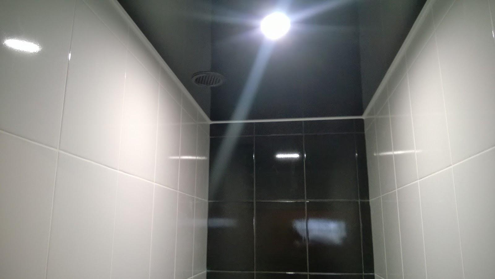 Черный натяжной потолок - не лучший вариант для туалета