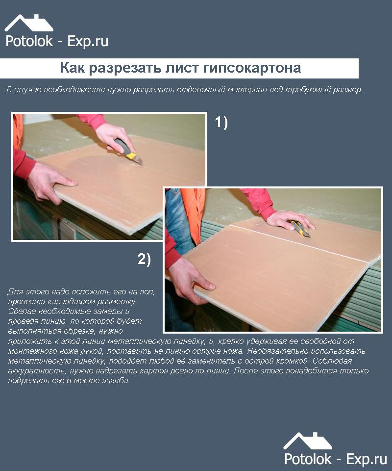 Как разрезать лист гипсокартона
