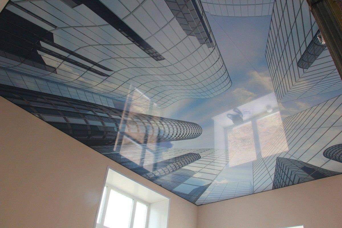 """Натяжной потолок """"Небо в мегаполисе"""""""
