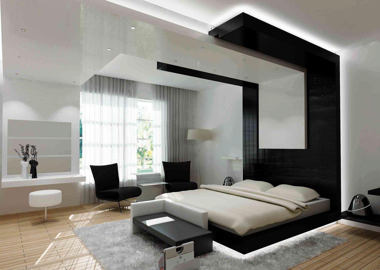 Натяжной потолок в спальне, оформленной в стиле хай-тек