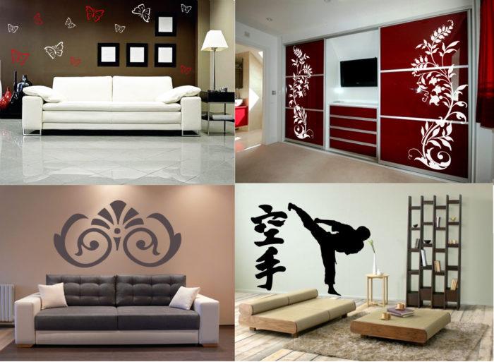 Наклейки на стенах и мебели