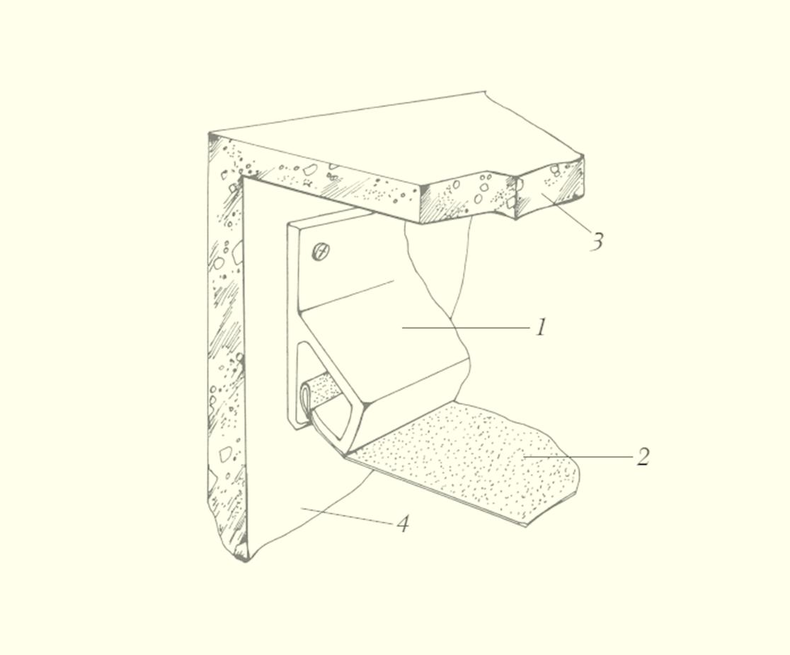 Клипсовый метод крепления натяжного потолка: 1 – клипса; 2 – полотно потолка; 3 – стена; 4 – основной потолок