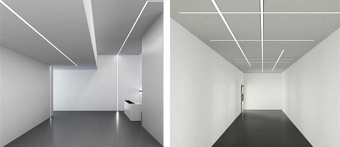 Примеры организации освещения с помощью встраиваемой светодиодной линейной системы