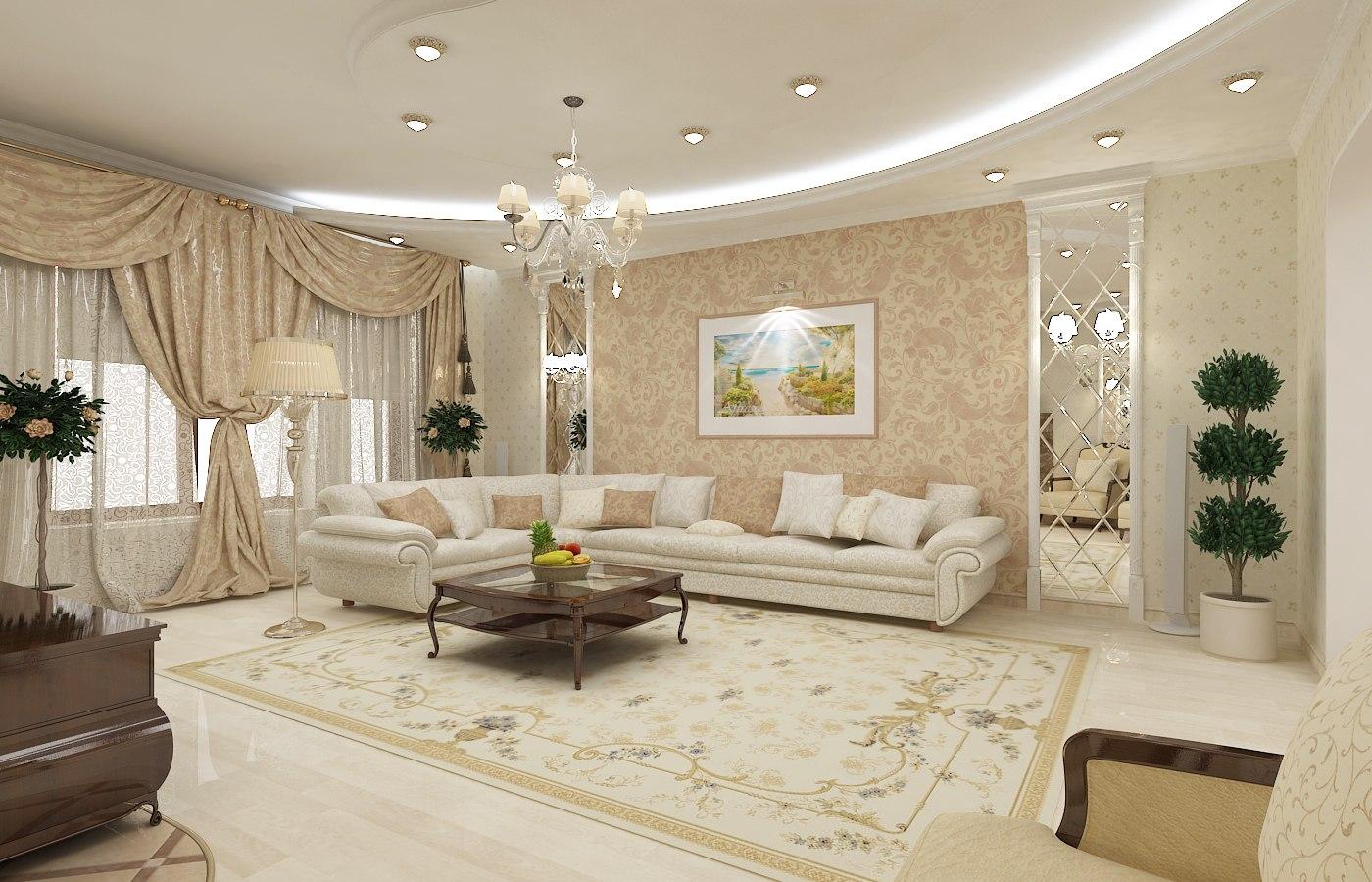 Матовый натяжной потолок белого цвета в интерьере, оформленном в классическом стиле