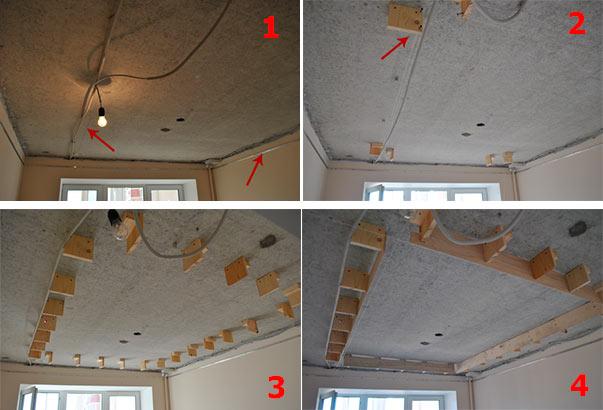 Еще один вариант - монтаж каркаса натяжного потолка