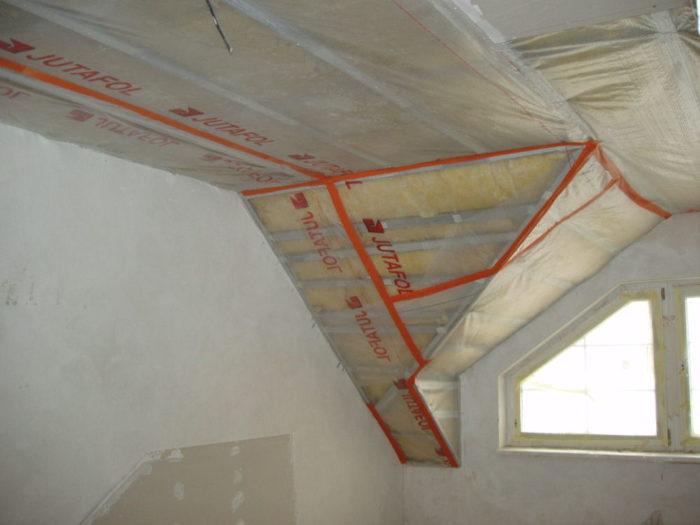 Пароизоляция потолка (использование металлического профиля)