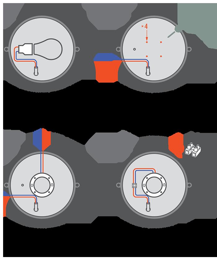 Переделка светильника: меняем патрон Е27 на GX53 своими руками