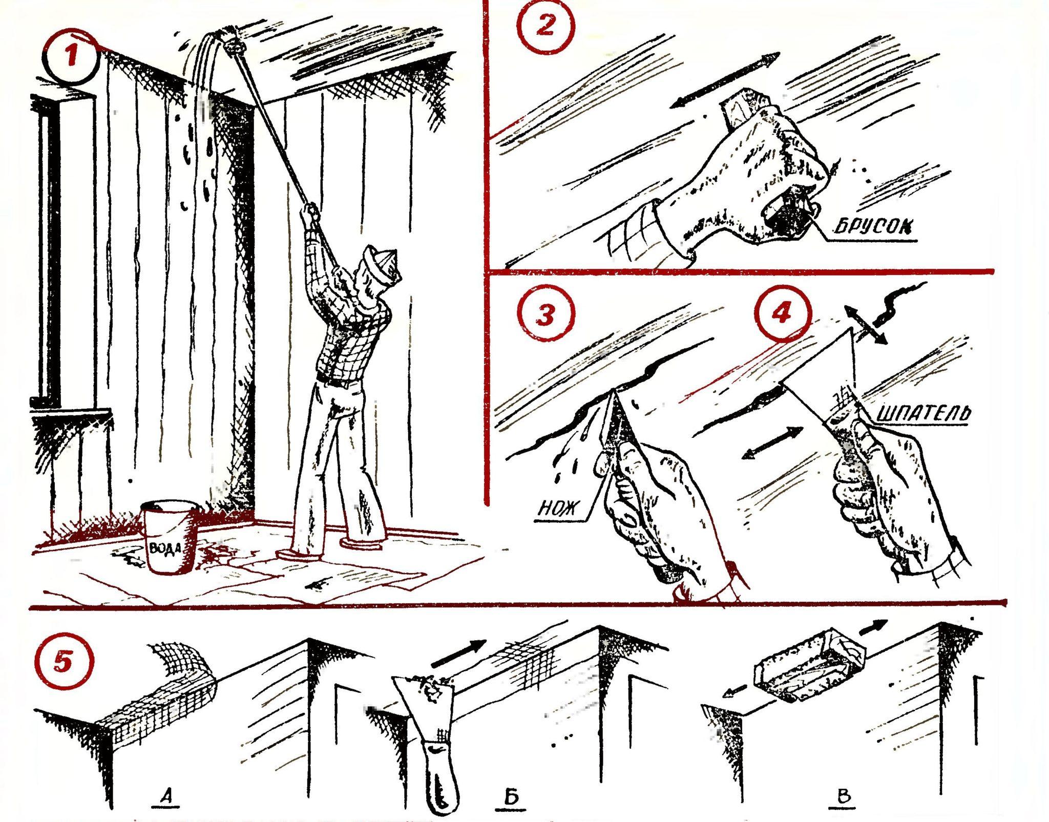 Этапы очистки потолка от побелки