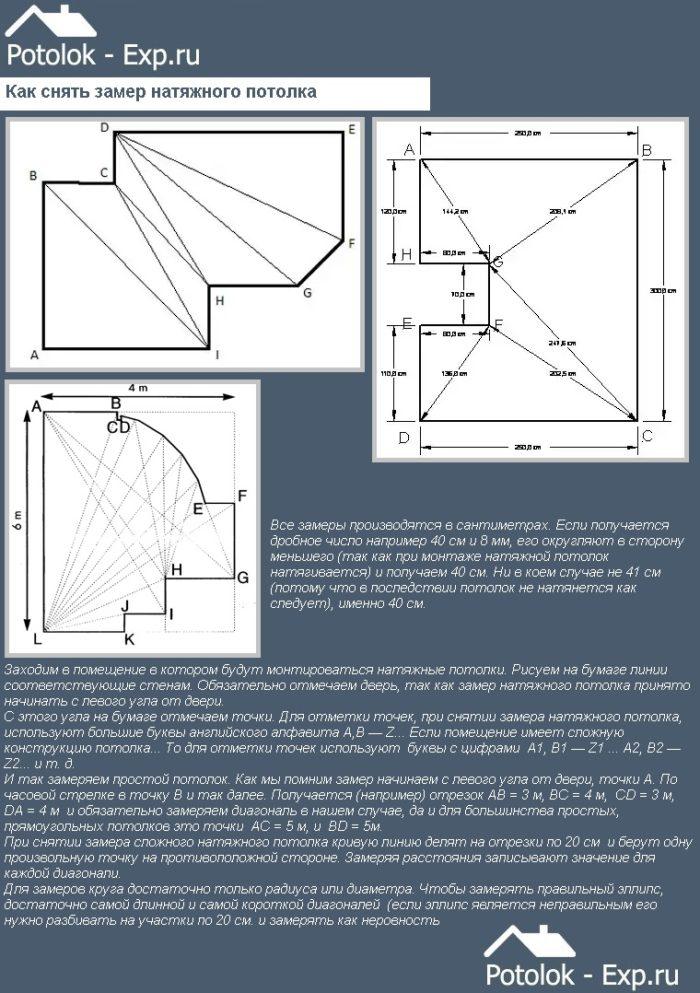 Как снять замер натяжного потолка
