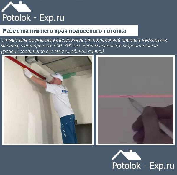 Разметка нижнего края подвесного потолка