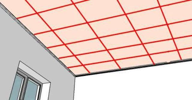 Пример размеченного чернового потолка