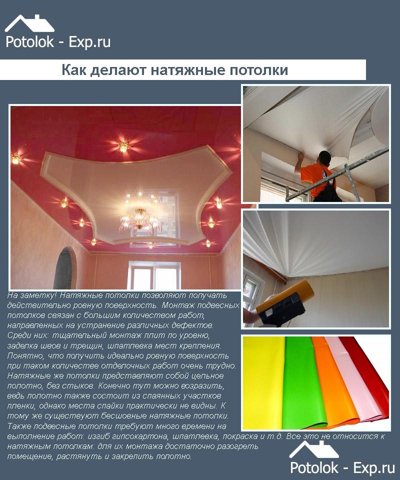 Как делают натяжные потолки