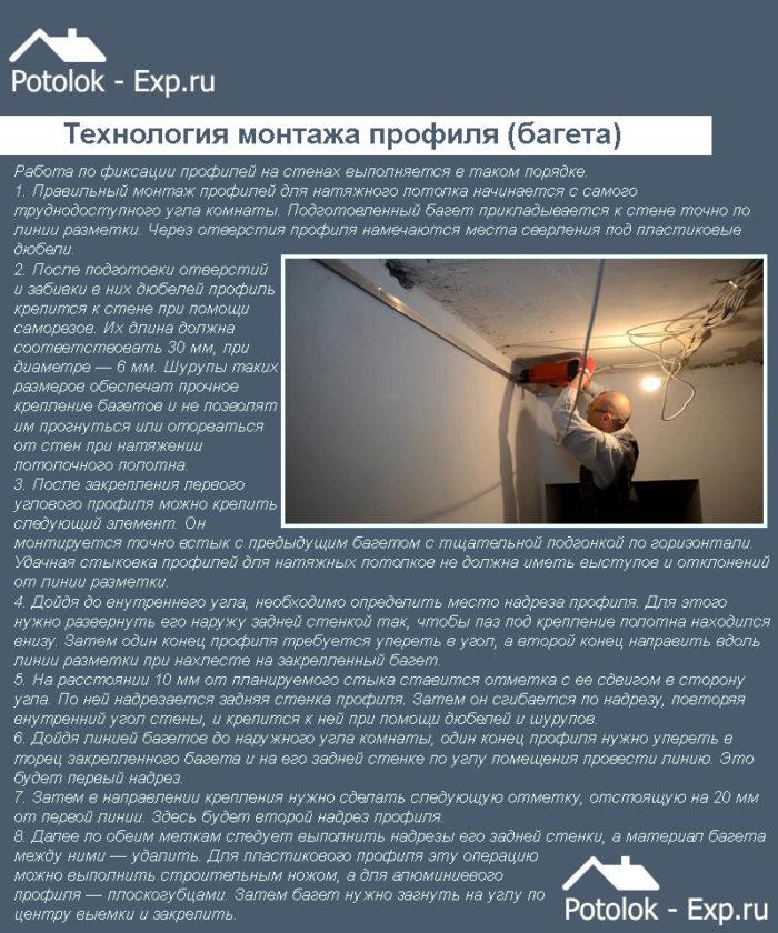 Технология монтажа профиля (багета) для натяжного потолка