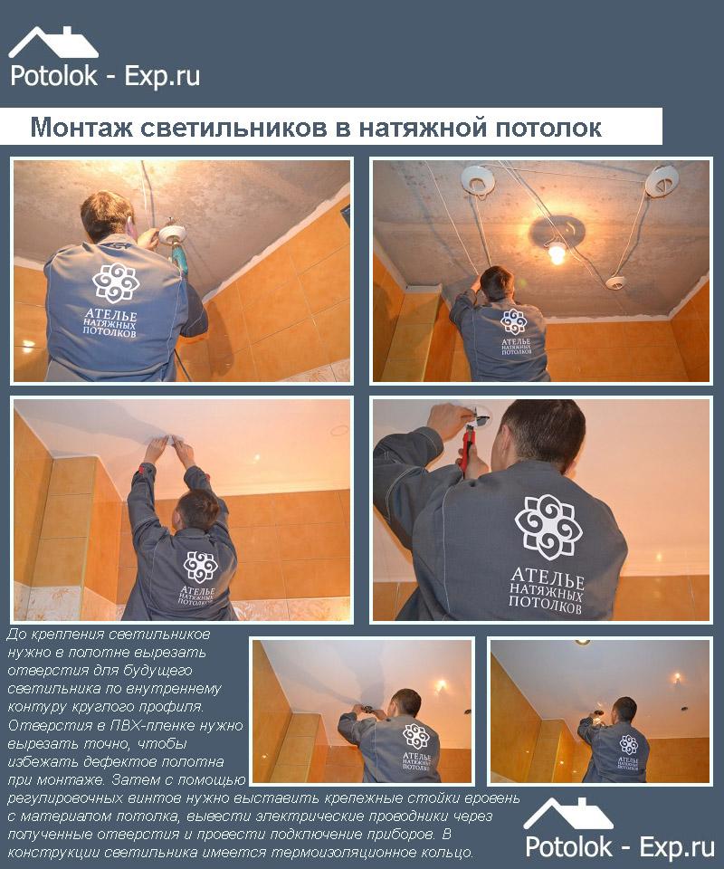 Этапы монтажа светильников в натяжной потолок