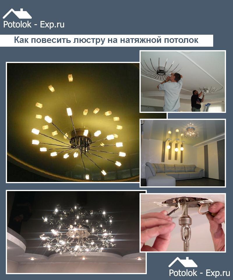 Как повесить люстру на натяжной потолок