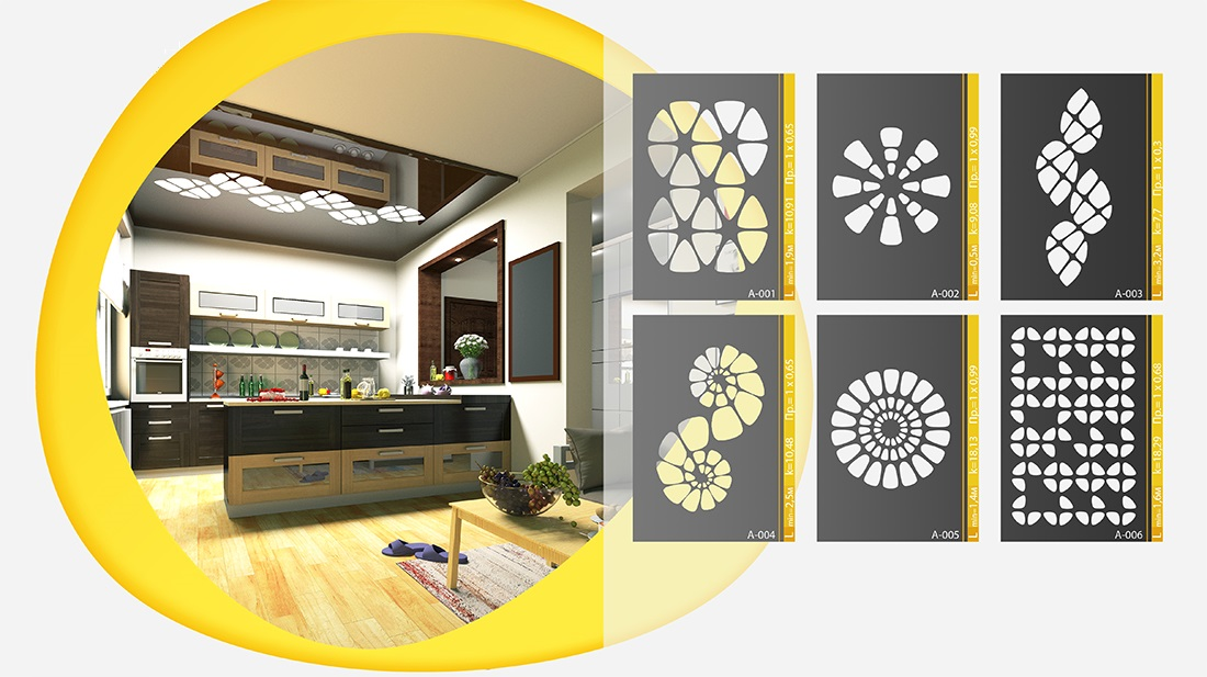 Варианты узоров на перфорированных натяжных потолках
