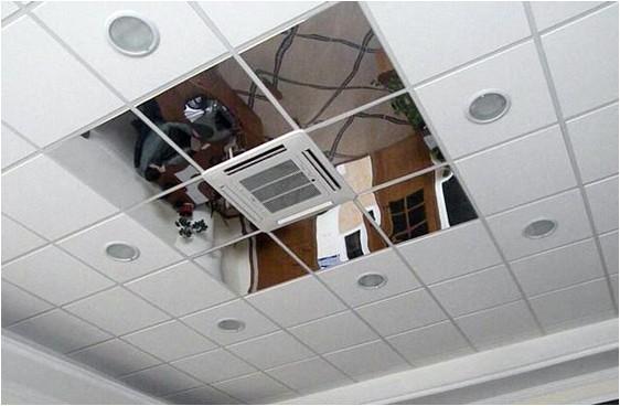 Потолок Армстронг с зеркальными вставками