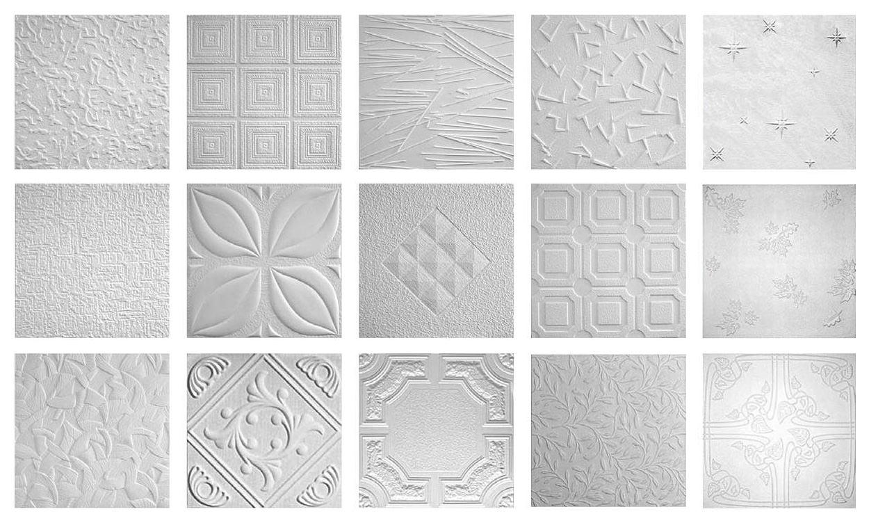 Варианты дизайна пенопластовой плитки для потолка